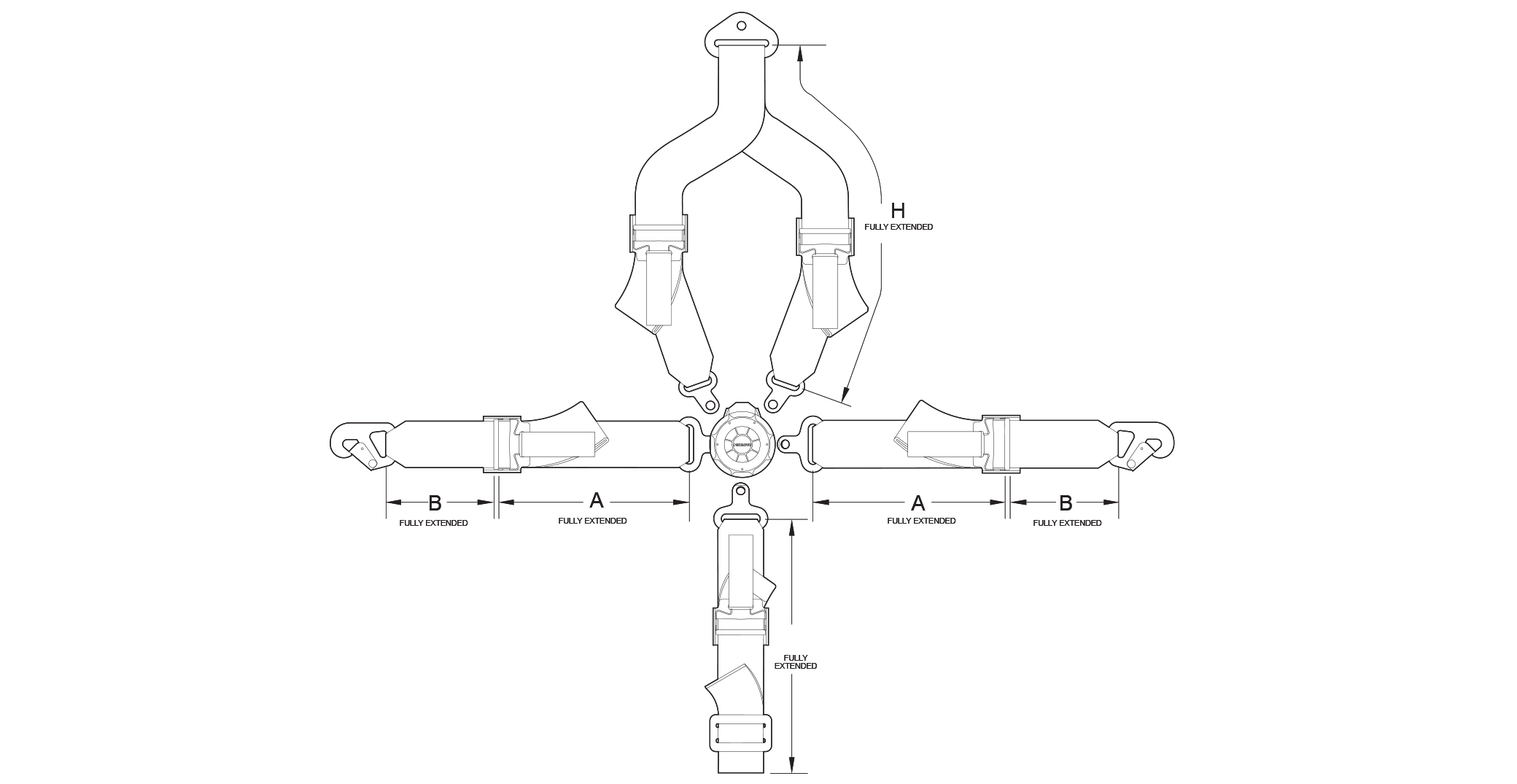 Five/Four Point Rotary Fixed with Harness Adjusters Drawing